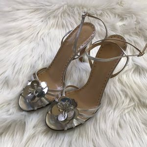 New Kate Spade silver strappy heels with flower 9